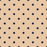 Vintage Tan Seamless Pattern with Navy Blue Polka Dots Stock Photos