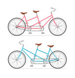 Vintage Tandem Bicycle Set. Vector Stock Images