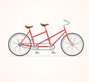 Vintage Tandem Bicycle. Vector. Red Vintage Tandem Bicycle on White Background. Vector illustration vector illustration