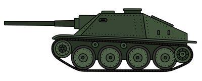Vintage tank destroyer. Hand drawing of a vintage green tank destroyer Stock Images