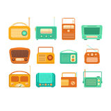Vintage tape recorder and radio. Collection of vintage tape recorder and radio on a white background. Set of isolated vintage tape recorders. Illustration of Stock Photography
