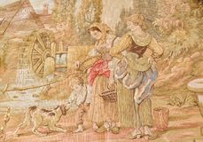 Vintage tapestry scene Stock Photo