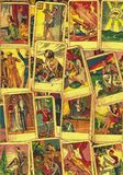 Vintage tarot cards. Fortunetelling with one of the most popular occult Tarot cards stock photography