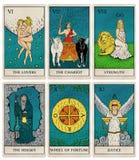 Vintage tarot deck, old style illustrations. Tarot deck part 2 of 4, old style illustrations of cards 6 to 11 stock photos