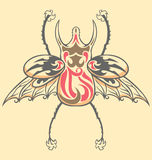 Vintage Tattoo Beetle. Exotic beetle illustrated with tattoo style stock illustration