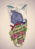 Vintage tattoo of a cat-sailor Royalty Free Stock Images