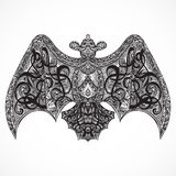 Vintage tattoo design with flying ornate bat top vew. Royalty Free Stock Photo