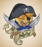 Vintage tattoo of The Jolly Cat Stock Images