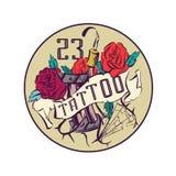 Vintage tattoo studio emblem, colorful vector illustration.  Stock Images