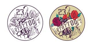 Vintage tattoo studio emblem, colorful vector illustration.  Royalty Free Stock Photography