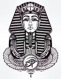 Vintage tattoo vector pharaoh with winged Ankh. Royalty Free Stock Photography