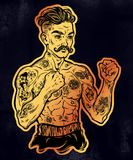 Vintage tattooed retro boxer fighter champion. Tattooed boxer fighter, player in vintage style fighting with bare fists. Traditional tattoo style retro poster Royalty Free Stock Photography