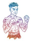 Vintage tattooed retro boxer fighter champion. Tattooed boxer fighter, player in vintage style with fighting with wrapped knuckles. Traditional tattoo style Stock Photo