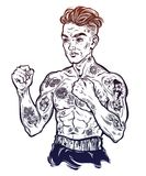 Vintage tattooed retro boxer fighter champion. Tattooed boxer fighter, player in vintage style fighting with bare fists. Traditional tattoo style retro poster Stock Photography