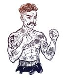 Vintage tattooed retro boxer fighter champion. Tattooed boxer fighter, player in vintage style fighting with bare fists. Traditional tattoo style retro poster Royalty Free Stock Images