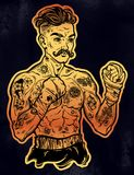 Vintage tattooed retro boxer fighter champion. Tattooed boxer fighter, player in vintage style with fighting with wrapped knuckles. Traditional tattoo style Stock Photos