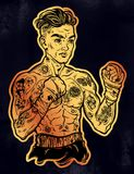 Vintage tattooed retro boxer fighter champion. Tattooed boxer fighter, player in vintage style with fighting with wrapped knuckles. Traditional tattoo style Stock Image