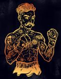Vintage tattooed retro boxer fighter champion. Tattooed boxer fighter, player in vintage style with fighting with wrapped knuckles. Traditional tattoo style Royalty Free Stock Photo