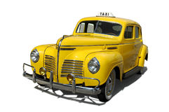 Vintage taxi. Cab isolated in white background Royalty Free Stock Photo