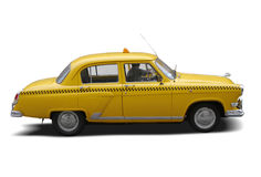 Vintage taxi cab. 60's vintage taxi cab from the USSR isolated on white stock image