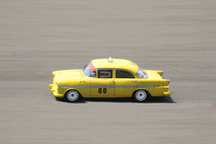 Vintage Taxi Driving fast. On the race track Stock Images