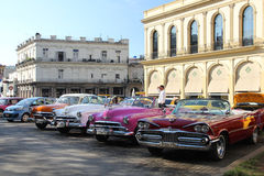 Vintage taxis in Havana Stock Images