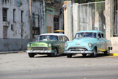 Vintage taxis in Havana Stock Photos