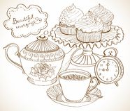 Vintage tea background, set for breakfast Royalty Free Stock Photo
