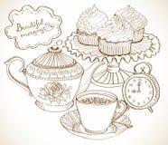 Vintage tea background, set for breakfast. Vintage tea background, hand drawn set for breakfast Royalty Free Stock Photo