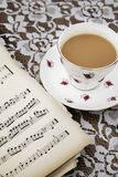 Vintage tea cup,saucer and Musical Sheets Stock Photos