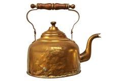 Vintage tea kettle isolated on white. Vintage brass tea kettle with wooden handle isolated on a white background stock images