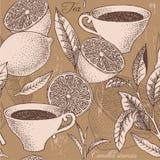 Vintage tea and lemon seamless background Royalty Free Stock Photo