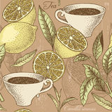 Vintage tea and lemon seamless background Royalty Free Stock Images