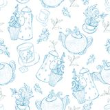 Vintage tea porcelain. seamless pattern Royalty Free Stock Image