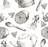Vintage tea porcelain. seamless pattern.Vector illustration Royalty Free Stock Image