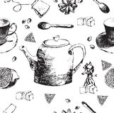 Vintage tea porcelain. seamless pattern.Vector illustration Stock Photos