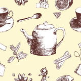 Vintage tea porcelain. seamless pattern.Vector illustration Royalty Free Stock Photography