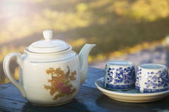 Vintage tea pot and cups Royalty Free Stock Photography