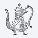 Vintage tea pot engraving Royalty Free Stock Photos