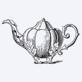 Vintage tea pot engraving Stock Photos
