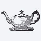 Vintage tea pot engraving Stock Images