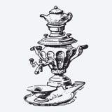 Vintage tea pot engraving Royalty Free Stock Image