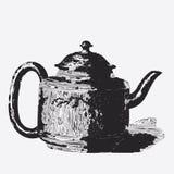 Vintage tea pot engraving Royalty Free Stock Photography