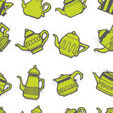 Vintage tea pots seamless pattern Royalty Free Stock Image