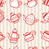 Vintage tea pots seamless pattern Stock Images
