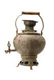 Vintage tea samovar isolated on white Stock Photos