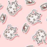 Vintage tea set sticker doodle colorful seamless pattern. Vintage tea set sticker doodle colorful pattern vector illustration