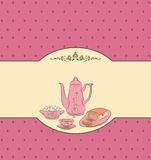 Vintage tea set and sweet cakes. Royalty Free Stock Photos