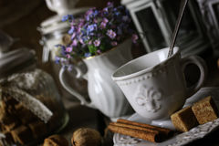 Vintage tea table concept. Various vintage elements on old worn backgrounds different concepts Stock Photos