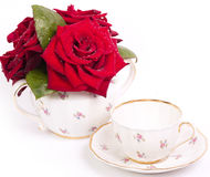 Vintage teacup with flowers. On white background Stock Image